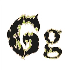 Fiery font black and green letter g on white vector