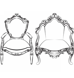 Elegant armchair set with luxurious ornaments vector
