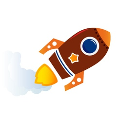 Flying cartoon brown rocket isolated on white vector