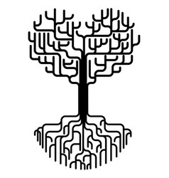 abstract heart tree silhouette vector image