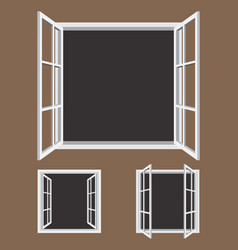 Open window frame icons vector