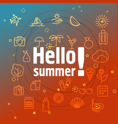 Hello summer concept different thin line icons vector