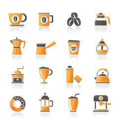 different types of coffee industry icons vector image