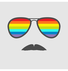 Glasses with rainbow lenses and mustaches isolated vector