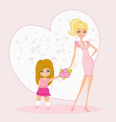Little girl giving flowers to mom on mothers day vector