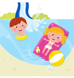 Children in swimming pool vector