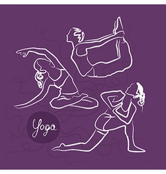 Set of yoga poses purple background vector