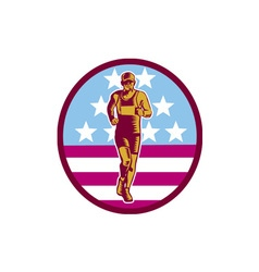 Marathon runner usa flag circle woodcut vector