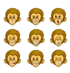 Set of monkey face with different emotions vector