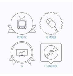 Retro tv pc mouse and dvd disc icons vector