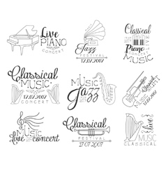 Music concert hand drawn banner set vector