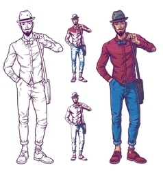 a fashionable guy vector image vector image