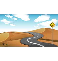A narrow road at the desert vector image