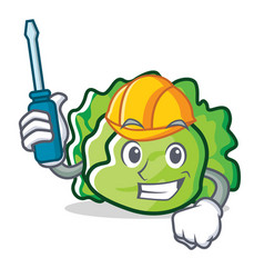 Automotive lettuce character mascot style vector