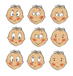 Baby boy faces collection on white background vector