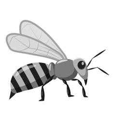 Bee icon gray monochrome style vector