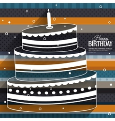 Birthday card with cake on stripes colorful vector image