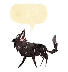 Cartoon snapping wolf with speech bubble vector