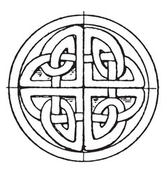 Celtic stone cross circular panel is found in st vector