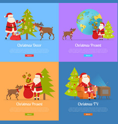Christmas decor and present with santa claus vector