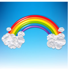 Clouds and colorful rainbow vector