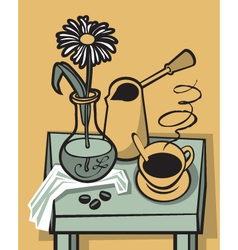 coffee still life vector image vector image