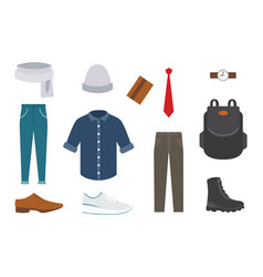 collection of various wear and shoes for cold vector image
