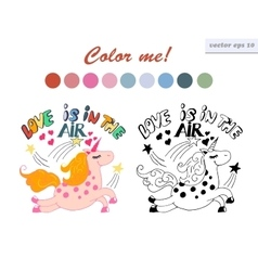 coloring book unicorn vector image vector image