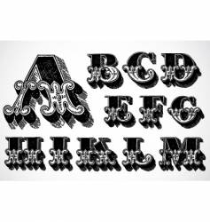 Decorative alphabet a m vector