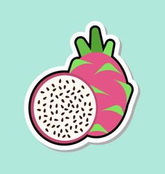 dragon fruit sticker on blue background colorful vector image
