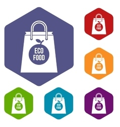 Eco food bag icons set vector