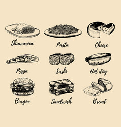 Fast food sketches set hand drawn vector