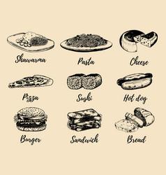 fast food sketches set hand drawn vector image vector image