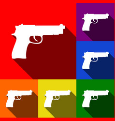 Gun sign set of icons with vector