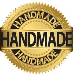 Handmade gold label vector image