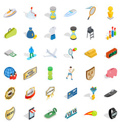 Hard victory icons set isometric style vector