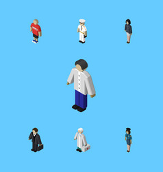 Isometric person set of medic policewoman guy vector