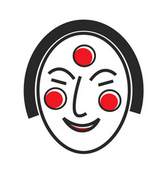 Korean mask with drawn face and red circles vector