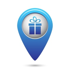 Map pointer with present icon vector image vector image