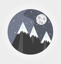 Mountains under the full moon vector