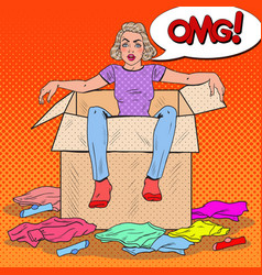 pop art stressed woman in the box with clothes vector image vector image