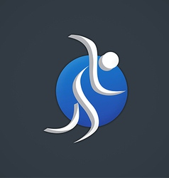 running people abstract icon logo vector image