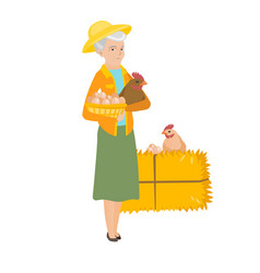 Senior farmer holding chicken and basket of eggs vector