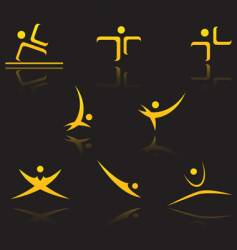 set of golden symbols vector image