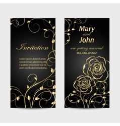 Set of wedding invitation cards design vector