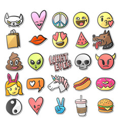 Stickers pins patches collection in cartoon vector