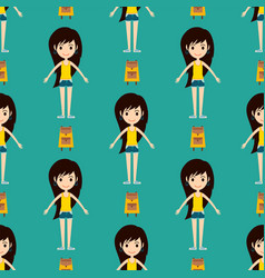 Street fashion girls models wear seamless pattern vector