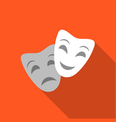 Theater masks icon in flate style isolated on vector