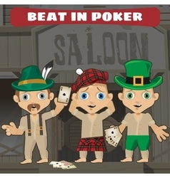 Three cowboys beat in poker in the saloon vector