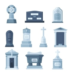Tombs stone grave construction set vector image vector image